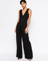Asos V Neck Jumpsuit In Wide Leg With Pleat