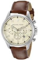 Michael Kors MK8441 Beige Dial Brown Leather Chronograph Gage 45mm Mens Watch