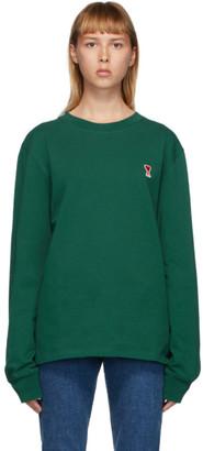 Ami Alexandre Mattiussi Green Ami De Coeur Long Sleeve T-Shirt