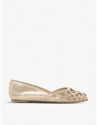 Dune Harrel peep-toe leather ballet flats