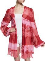 Haute Hippie Short Tie-Dye Paneled Silk Cloak, Kozmic Reds