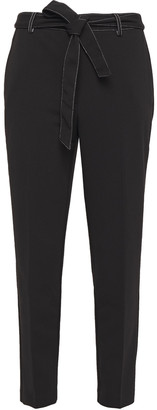 DKNY Cropped Belted Stretch-crepe Tapered Pants