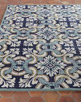 """Horchow Paige Floral Tile Indoor/Outdoor Rug, 8'3"""" x 11'6"""""""