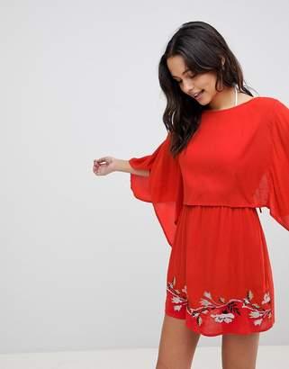 Asos Design DESIGN Split Back Embroidered Beach Dress