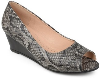Brinley Co. Women's Faux Leather Comfort-sole Peep-toe Wedges