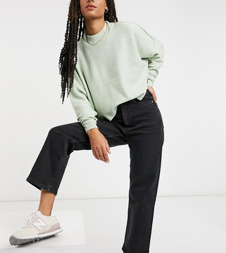 Monki Zami organic cotton high waist straight leg jeans in washed black