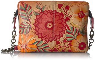 Anna by Anuschka Women's Genuine Leather Small Cross-Body Handbag   Zip-Top Multi-Compartment Organizer   Summer Bloom