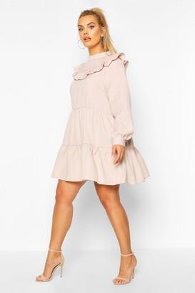 boohoo Plus High Neck Ruffle Tiered Smock Dress