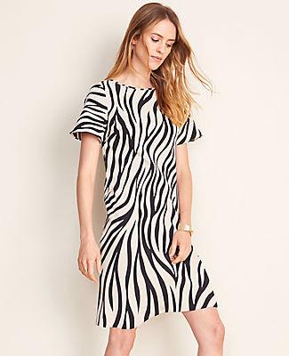 Ann Taylor Petite Zebra Print Flutter Sleeve T-Shirt Dress