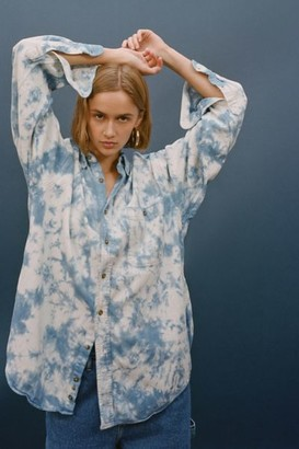 Urban Renewal Vintage Recycled Marble Bleach Oversized Chambray Shirt