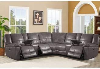 "Latitude Run Winkfield 118.11"" Symmetrical Leather Reclining Sectional"