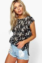 Boohoo Beci Pleated Floral Sleeveless Top
