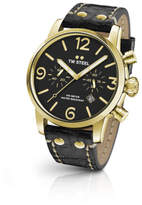 TW Steel Maverick, 48mm, Gold Steel, Chrono, Blk Dial, Blacklthr