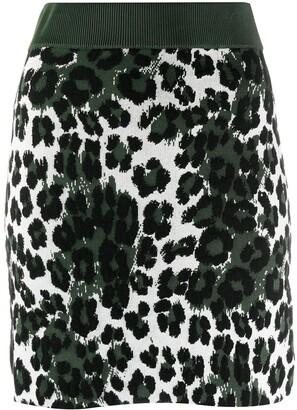 Kenzo Knitted Leopard Print Skirt