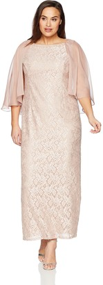 Ignite Women's Plus Size Attached Cape Gown Dress