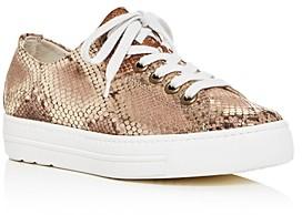 Paul Green Women's Ally Snake-Embossed Platform Low-Top Sneakers