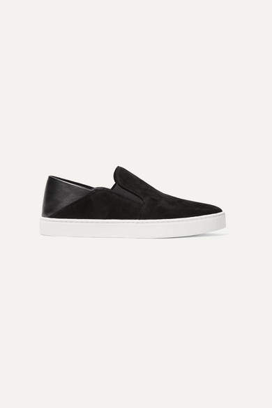 Vince Garvey Suede And Leather Collapsible-heel Sneakers - Black