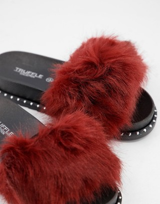 Truffle Collection faux fur slider slippers in red