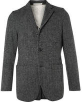 Beams Grey Slim-Fit Harris Tweed Wool Blazer