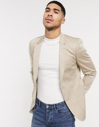 ASOS DESIGN skinny blazer in stone cotton