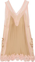 Chloé Lace-paneled plissé-silk mini dress