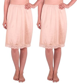 Under Moments Women's Half Slip with Lace Details, Anti- Static (Pack of 2)