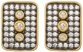 Freida Rothman 14K Gold Plated Sterling Silver CZ Contemporary Deco Stud Earrings