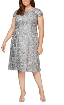 Alex Evenings Plus Size Rosettes Lace A-Line Dress