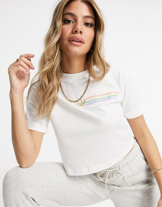 adidas Pride cropped trefoil t-shirt in white and yellow
