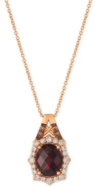 "LeVian Le Vian Rhodolite Garnet (3-1/5 ct. t.w.) & Diamond (3/8 ct. t.w.) 18"" Pendant Necklace in 14k Rose Gold"