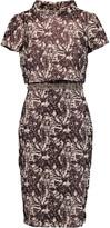 Badgley Mischka Embellished layered matelassé dress