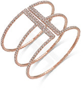 INC International Concepts Rose Gold-Tone Triple Row Pavé Cuff Bracelet, Only at Macy's