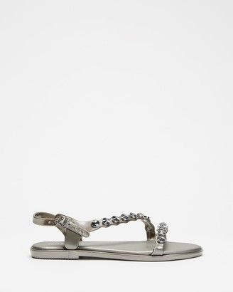 Holster Women's Silver Flat Sandals - Lola - Size One Size, 10 at The Iconic