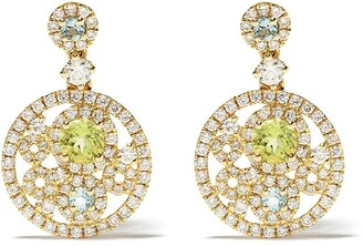 Kiki McDonough 18kt yellow gold Bubbles peridot, blue topaz and diamond drop earrings