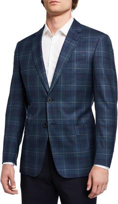 Emporio Armani Men's G Line Super 130s Wool Windowpane Sport Jacket