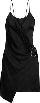 Cushnie Slate Wrap-effect Pleated Textured-satin Mini Dress