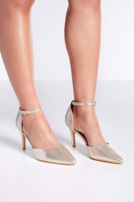 Quiz Wide Fit Gold Diamante Heeled Shoes