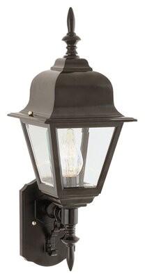 "Charlton Home Lyndon 1 - Bulb 16.75"" H Outdoor Wall Lantern Fixture Finish: Black"