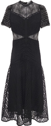 Sandro Fluted Paneled Lace Midi Dress