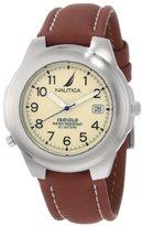 Nautica Men's N07501 Leather Round Analog Indiglo Watch