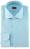 Isaia Bengal-Stripe Dress Shirt, Aqua/White
