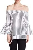 Romeo & Juliet Couture Striped Off-the-Shoulder Hi-Lo Blouse