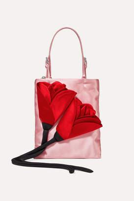 Prada Fiori Appliquéd Satin Tote - Baby pink