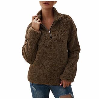 Aiserkly Women's Soft Fluffy Jumper Fleece Jacket Coat Warm Sweatshirt Outerwear Zipper Hoody Solid Long Sleeve Pullover Blouse Brown L