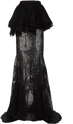 Brock Collection Primula Sheer Tiered Cotton-Lace Maxi Skirt