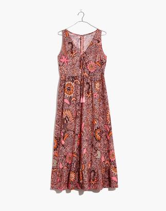 Madewell Lace-Up Ruffle-Hem Midi Dress in Bali Blooms