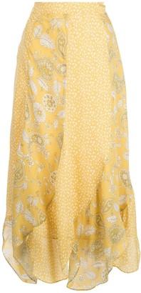 Nicholas Asymmetric Patchwork Midi Skirt