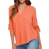 QIYUN.Z Summer New Women Chiffon Deep V-Neck Plus Size Slim Blouse T-Shirt Tops Shirt