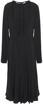McQ Flared Ruffle-trimmed Pintucked Silk Crepe De Chine Dress