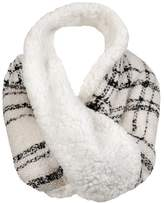 Wilsons Leather Womens Plaid Faux-Fur Infinity Loop Scarf
